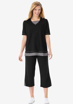 Striped Inset & Capri Set,