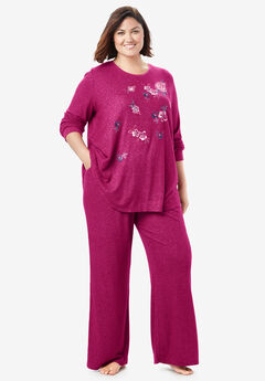 Dreams & Co.® Supersoft Embroidered Lounge Sweatshirt, POMEGRANATE FLORAL