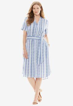 Split-Neck Linen Shirtdress with Belt,
