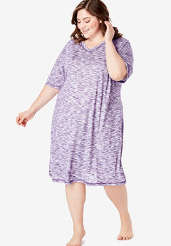 Short Marled Sleepshirt by Dreams & Co.®, RICH VIOLET