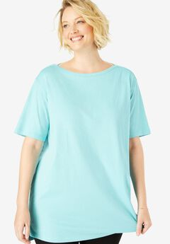 Boat Neck Elbow-Length Sleeve Perfect Tunic,