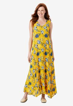 Sleeveless Crinkle A-Line Dress,