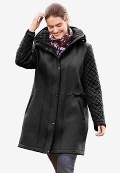 Mixed Media Hooded Jacket, BLACK