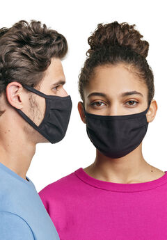 Hanes Wicking Cotton Masks 10-Pack, BLACK