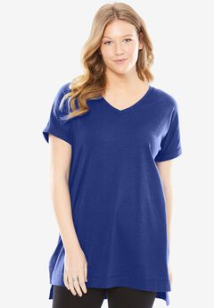 Longer Length Cuffed V-Neck Tunic,