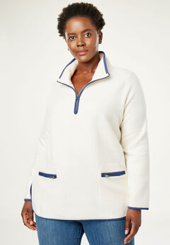 Quarter-Zip Microfleece Mock Neck Sweatshirt,