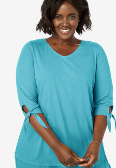 Layered Hem Tie Sleeve Tunic,