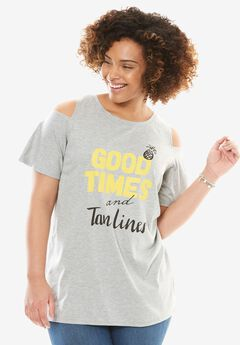 Short Sleeve Cutout Cold Shoulder Tee,