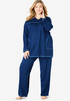 Topstitched PJ Set by Dreams & Co.®, EVENING BLUE