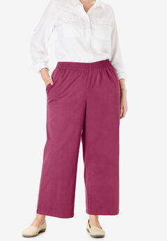 Elastic-Waist Cropped Chino Pant,