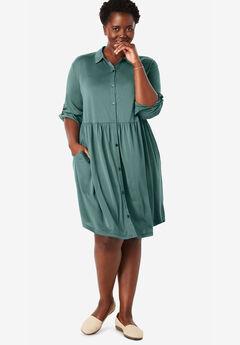 Drapey Shirtdress, ANTIQUE TEAL