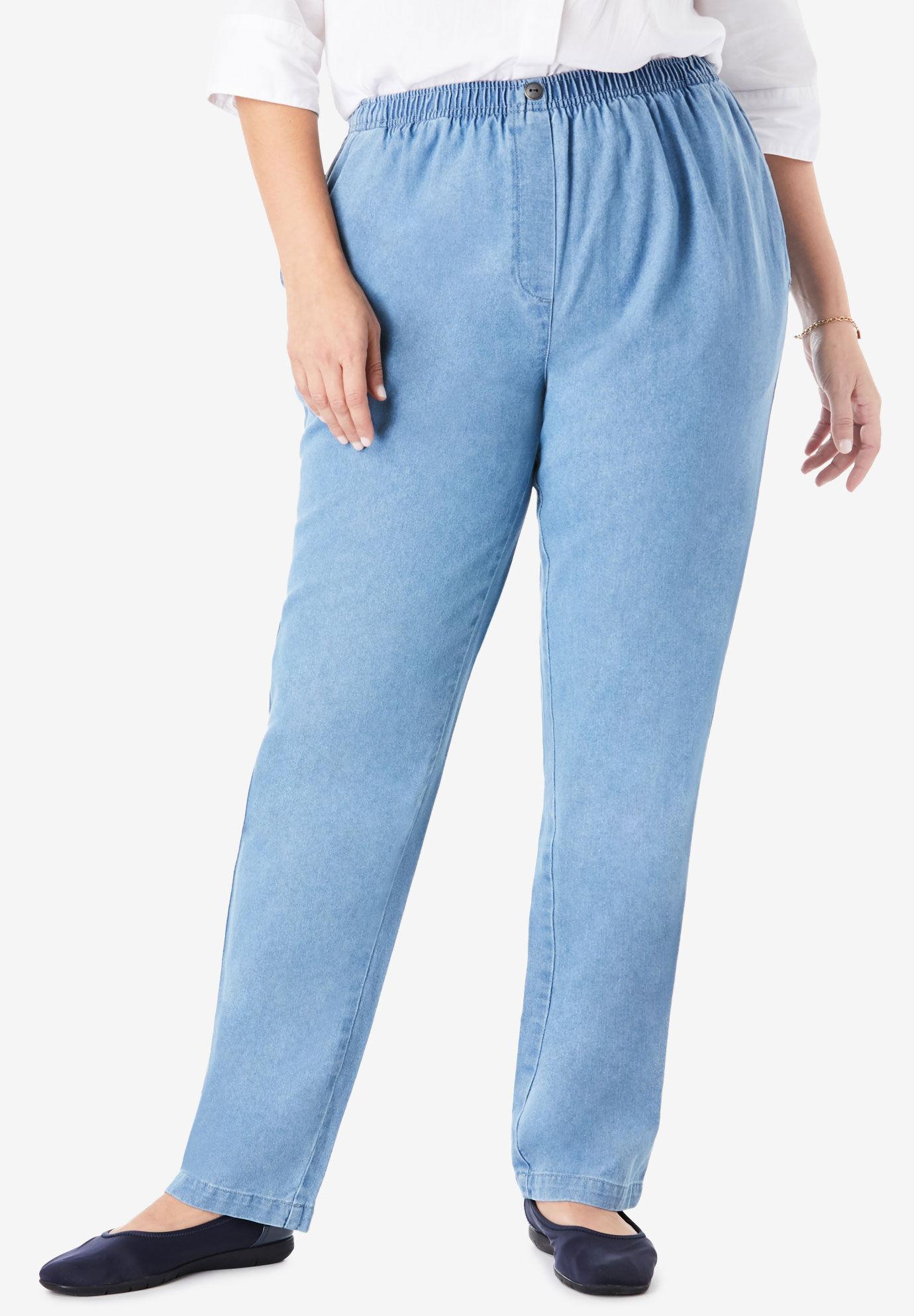 Mens Stretch Plus Size King Size Stonewash Blue Big Jeans Elasticated Waist
