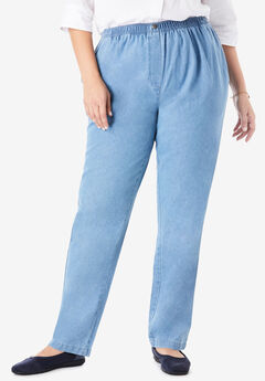 Elastic-Waist Cotton Straight Leg Pant,