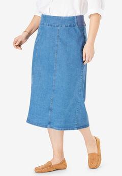 Smooth Waist A-Line Denim Skirt,