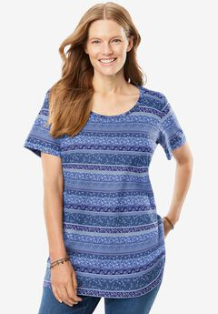 Perfect Printed Scoop Neck Tee, ROYAL NAVY PATCHWORK STRIPE