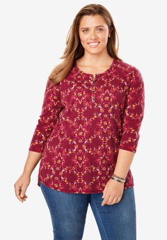 High-Low Thermal Henley Tunic, RICH BURGUNDY FLORAL TILE