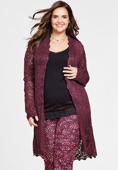 Pointelle Duster Cardigan by Chelsea Studio®,
