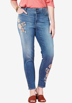 Skinny Floral Stretch Jeans by Chelsea Studio®,