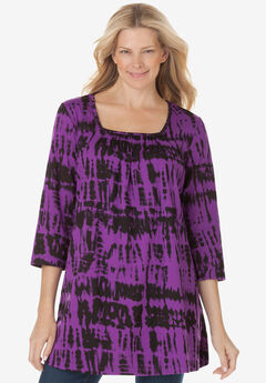 Tie-Dye Smocked Square-Neck Tunic,