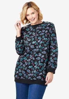 Fleece Sweatshirt, BLACK HAPPY HOLLY