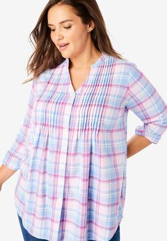 Pintuck Flannel Shirt,