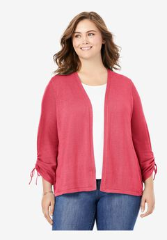 Ruched Sleeve Cardigan,