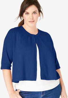 Single Button Shrug Cardigan, EVENING BLUE