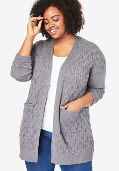 Open Front Pointelle Cardigan, MEDIUM HEATHER GREY
