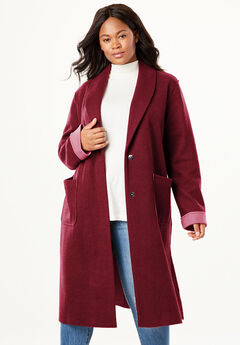 Lightweight Wool Double-Faced Coat, RICH BURGUNDY ROSE BLOOM