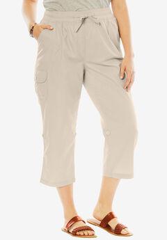 Convertible-Length Cotton Cargo Capri Pants,