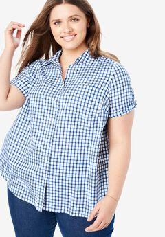 Short Sleeve Button Down Seersucker Shirt, DARK SAPPHIRE PLAID (YARN-DYE)