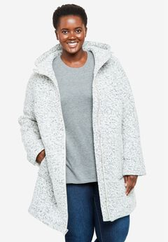 Textured Bouclé Hooded Coat,