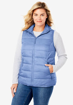 Fur Trim Hooded Puffer Vest, FRENCH BLUE