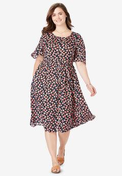 Flutter Sleeve Printed Midi Dress,