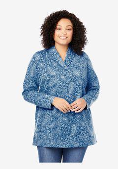 French Terry Zip Shawl Collar Sweatshirt,