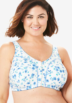 Cotton Front-Close Wireless Bra by Comfort Choice®, MULTI BLUE BOUQUET