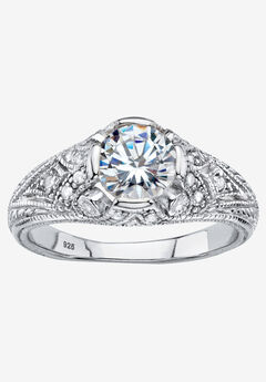 Silver Vintage Style Engagement Anniversary Ring Cubic Zirconia,