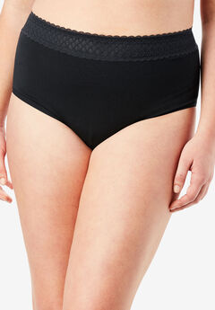 3-Pack Lace Waistband Full-Cut Brief by Comfort Choice®, BLACK PACK