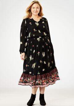 Peasant Crinkle Dress,