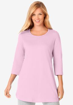 Perfect Three-Quarter-Sleeve Scoop-Neck Tunic,