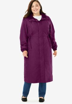 Long Hooded Taslon® Jacket, DARK BERRY