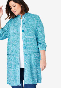 Marled Sweater Jacket, DEEP TURQUOISE WHITE