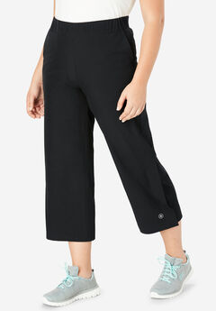 Stretch Woven Cropped Wide Leg Pant by FULLBEAUTY SPORT®,