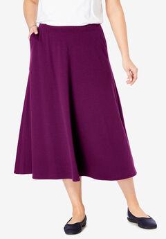 A-Line Ponte Skirt, DARK BERRY