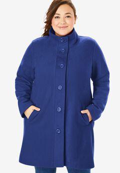 Fleece Swing Funnel-Neck Coat,