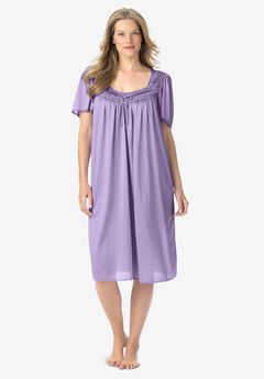 Short Silky Lace-Trim Gown by Only Necessities®, SOFT IRIS