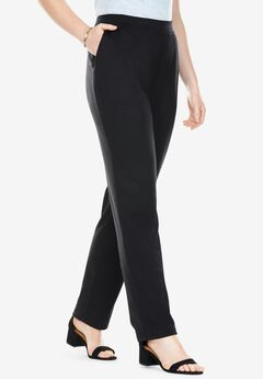 Straight Leg Ponte Knit Pant, BLACK
