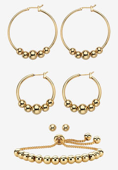 Gold Tone 4-Piece Beaded Earrings and Adjustable Slider Bracelet Set,