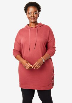 Side Lace-Up Hooded Tunic,