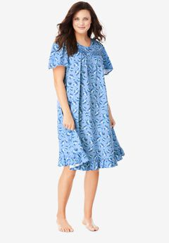 Short Floral Print Cotton Gown by Dreams & Co.®, FRENCH BLUE BOUQUET
